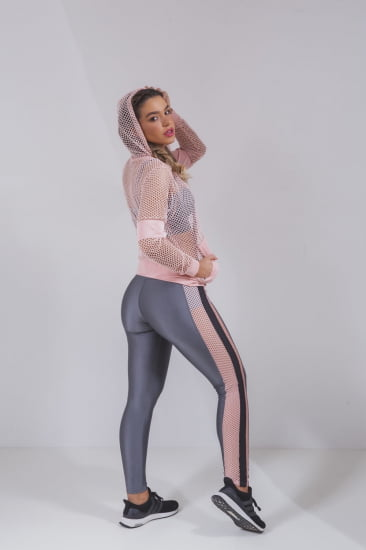 Trio fitness jaqueta arrastão rosê, top e legging